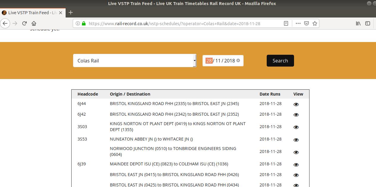 A list of Colas Rail VSTP services